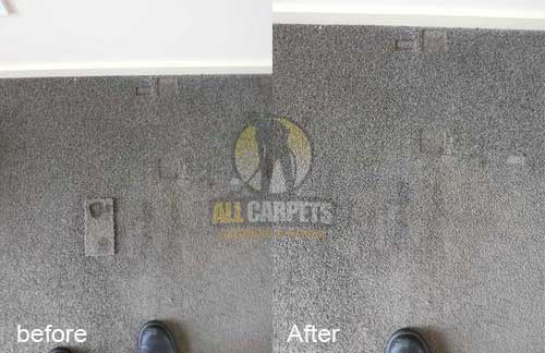 before and after carpet depressions and indentations because of heavy furniture being repaired