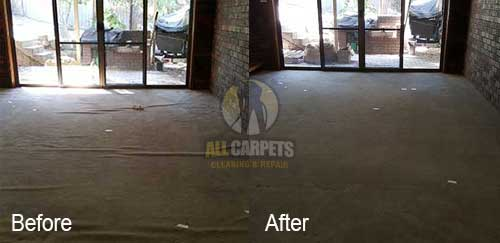 before and after repairing carpet buckles and ripples because of carpet stretching
