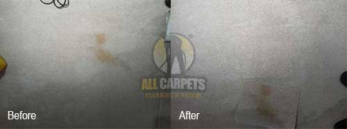 before and after spot on carpet being repaired and patched