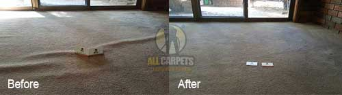 buckles and ripples because of carpet stretching before and after repairing