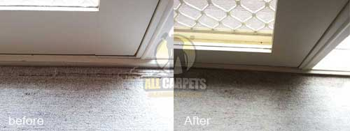 very teared damaged carpet before and after repairing and patching