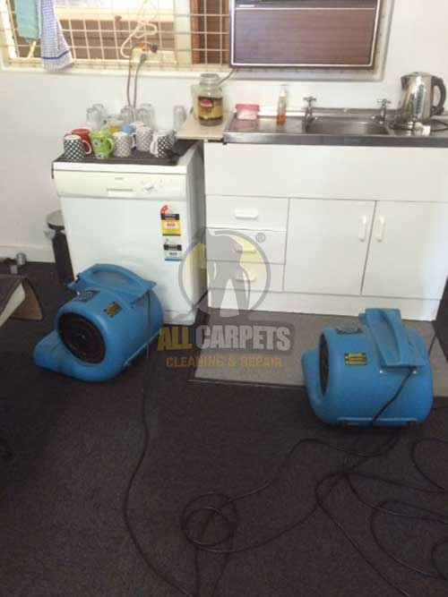 training room water damage carpet being repaired