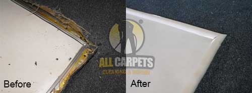 before and after patching carpet with damage edges