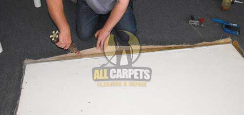 while  carpet edges repairing with patching