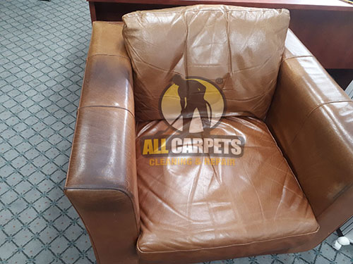 before and after cleaning the leather chair and getting an amazing result in Sunshine Coast